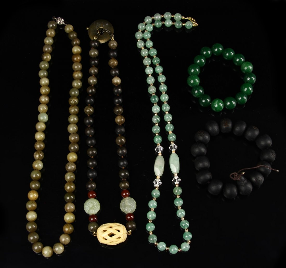 Two Chinese Bracelets and Three Necklaces
