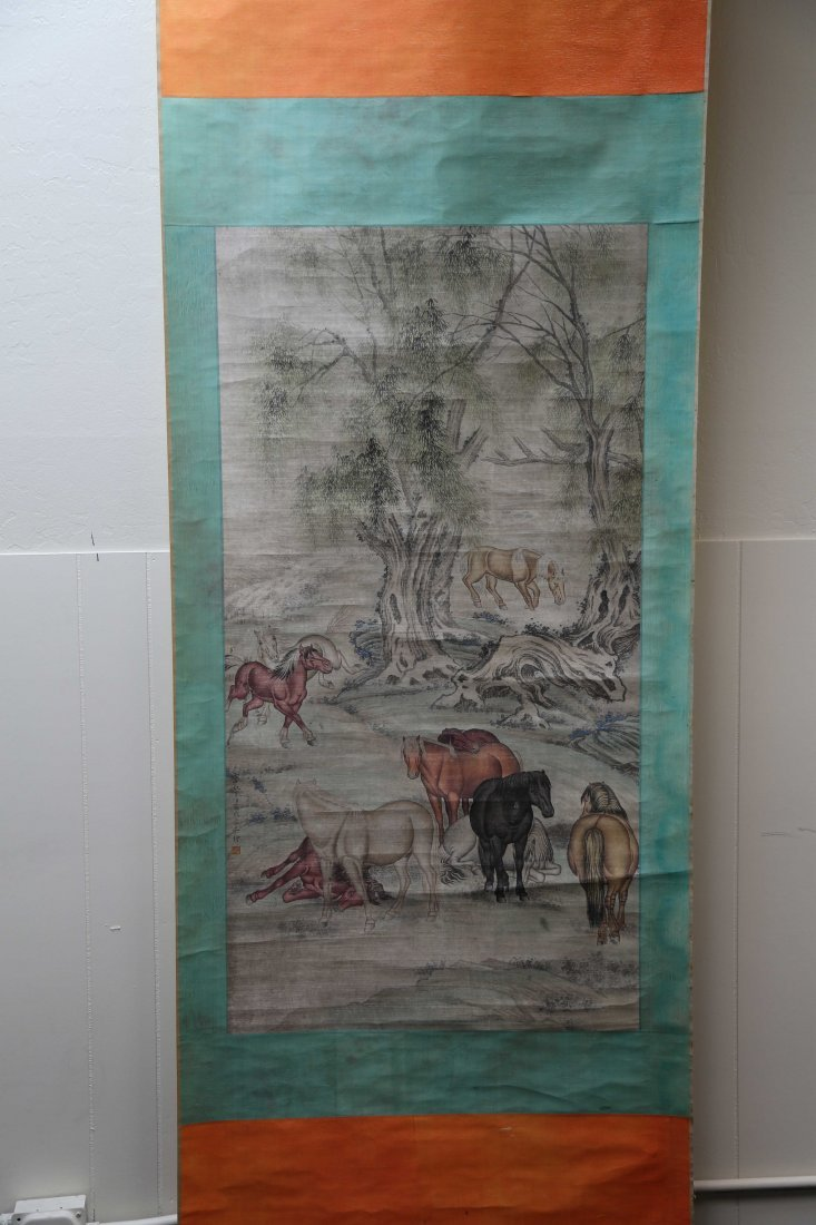 Qing chinese Horse Figure Paper painting