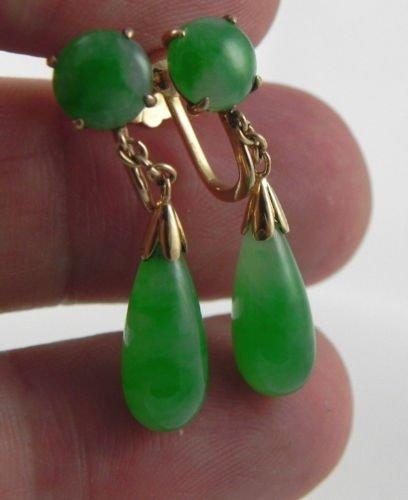GIA Certificate 18K chinese Being green Jade Earrings