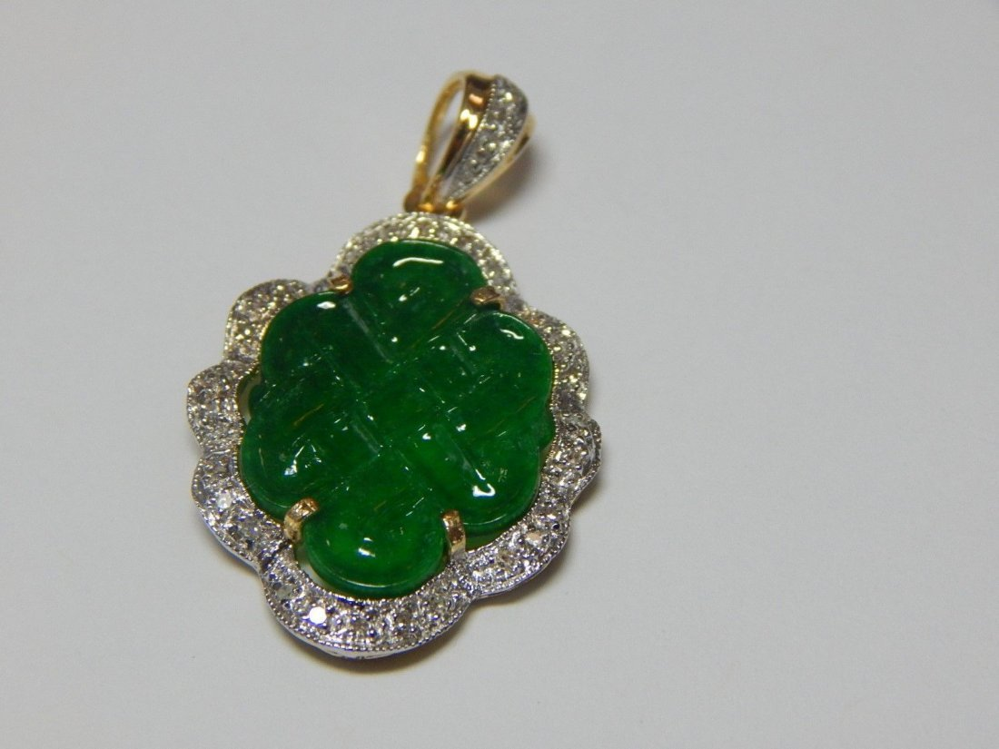 Chinese Imperial Green Jade Diamond 14k Gold Pendant