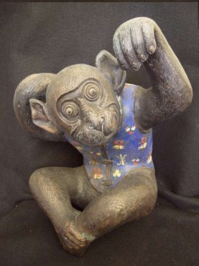 Old Chinese Cloisonne Monkeys