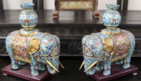 Pair Chinese Cloisonne Elephant
