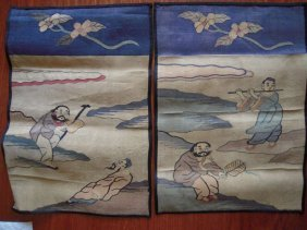 Pair Chinese Kesi Silk Hanging