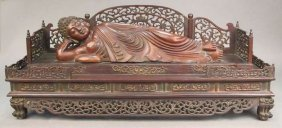 Chinese Buddha Lying In Rosewood Bed.