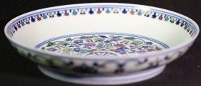 Chinese Qing Blue White Doucai Dish