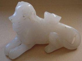 Chinese Hetian White Jade Foo Dog