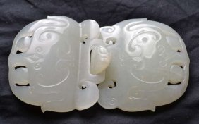 Chinese Two Piece White Jade Hook