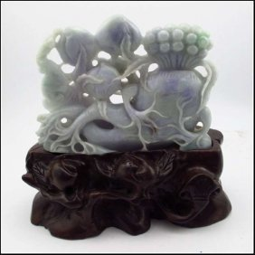 Chinese Lavender Green A Jadeite Carved Decoration