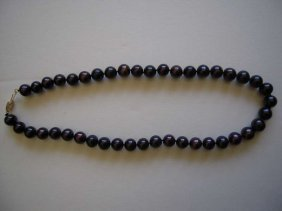 Chinese 14k Gold Tahitian Black Pearl Necklace
