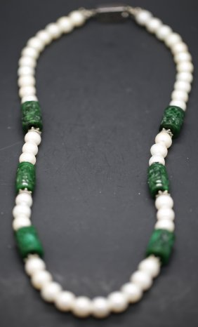 Chinese 14k White Pearl And Green Jade Necklace