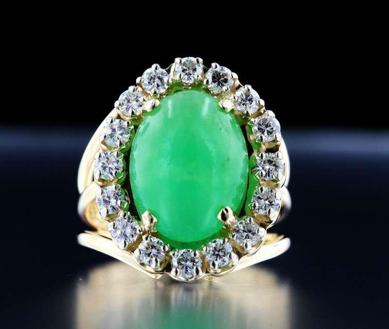 Chinese Green JADEITE DIAMOND 14K Gold RING