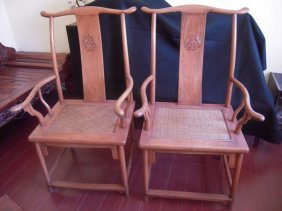 Pair Antique Chinese Huanhuali Armchairs