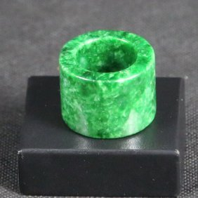 Chinese Green Jade Archer Plate Means Ring