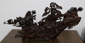 Chinese Lobular Red Sandalwood Carved Pieces