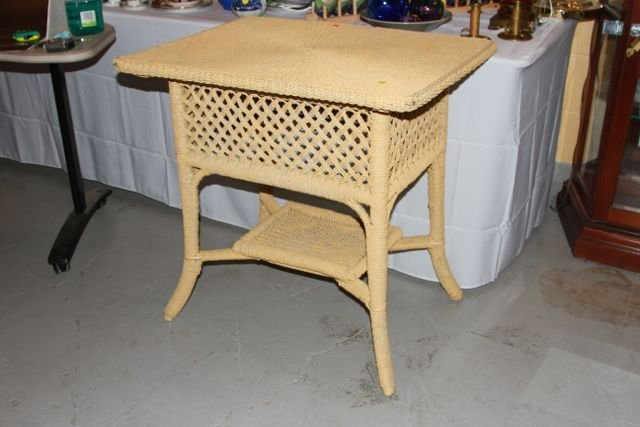 Yellow painted rope table