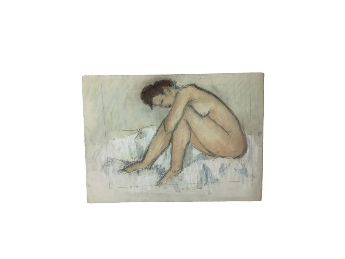 Italian Figurative pastel study painting 1960-70
