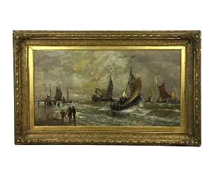 Harry (Henry) Chase painting sailing scene 1881 45x30