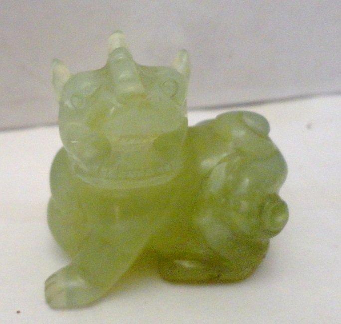 Natural Green Jade/Jadeite Carved Foo Dog