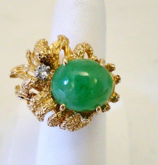 14K Jade and Diamond Ring