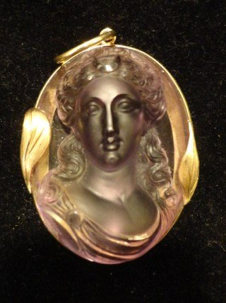 19th-C Carved Amethyst Cameo Pendant