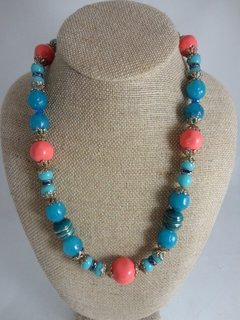 Coral and Teal Necklace