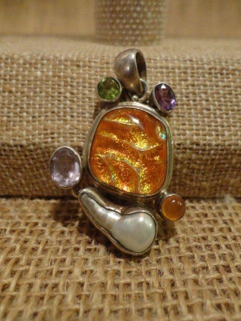 Free Form Sterling and Semi Precious Stone Pendant