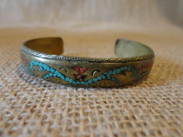 Inlaid Brass Bracelet