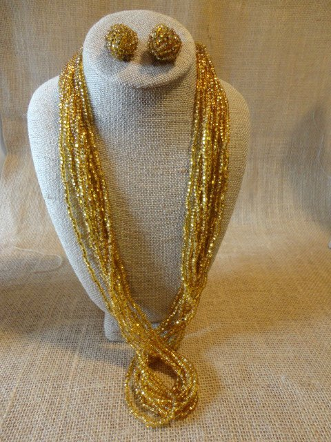 Gold Glass Bead Necklace Set