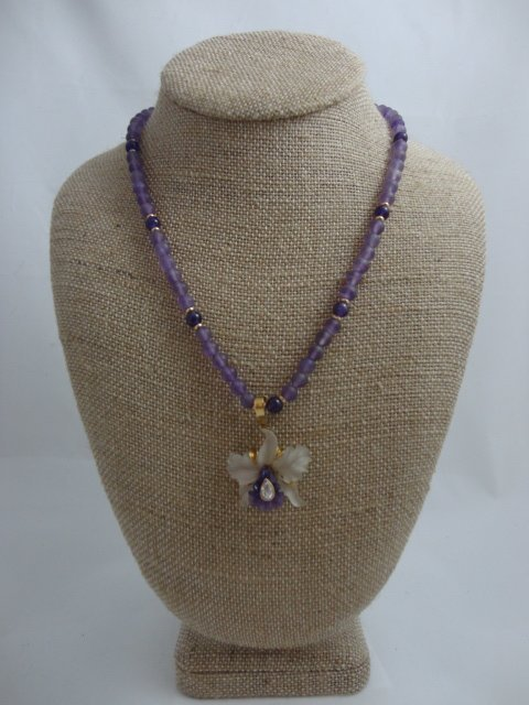 Carved Amethyst and Diamond Orchid