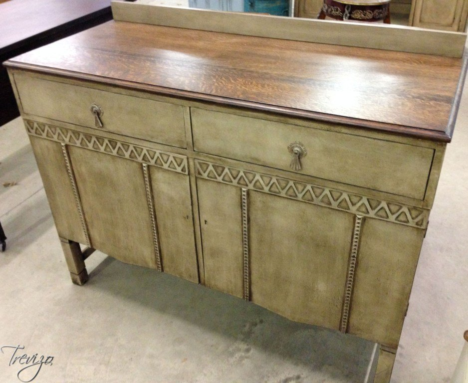 RUSTIC KHAKI TIGER OAK TOP BUFFET