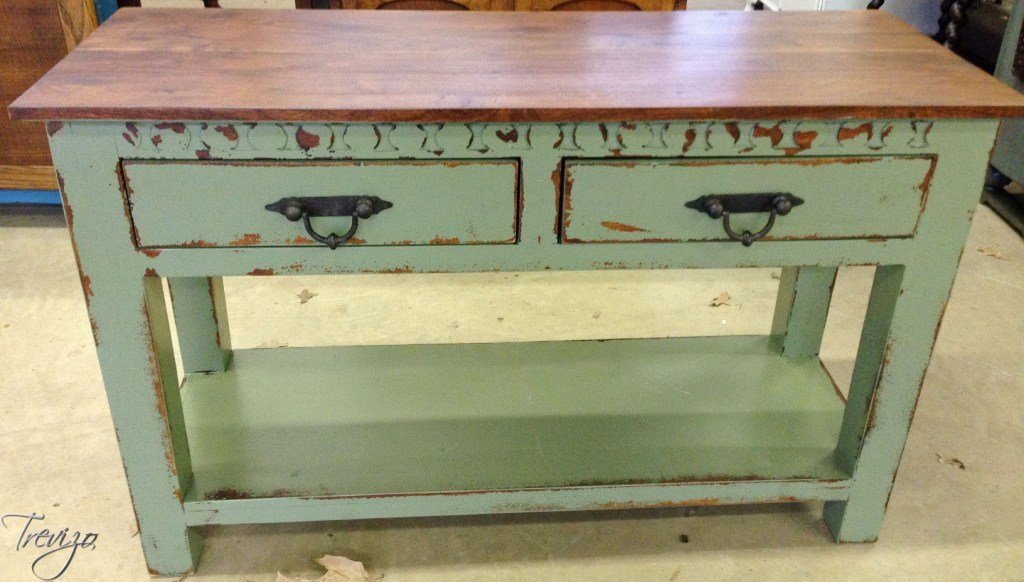 TEAK WOOD CONSOLE TABLE - 2 DRAWER