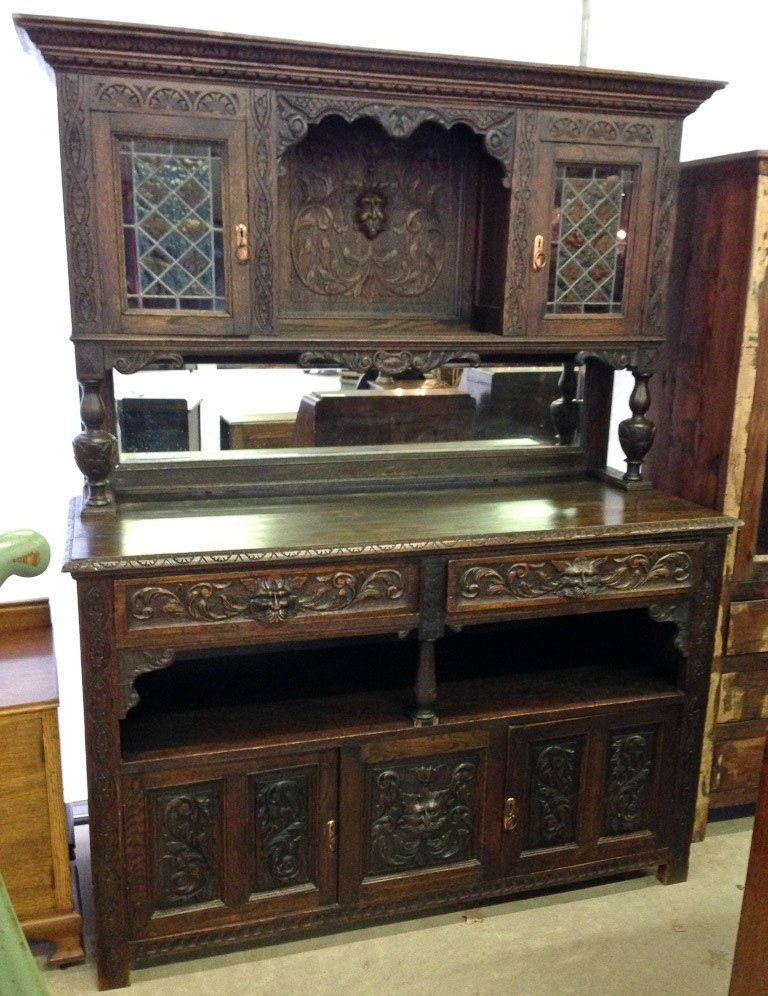 1800's French Hunt Cupboard with Stained Glass Doors
