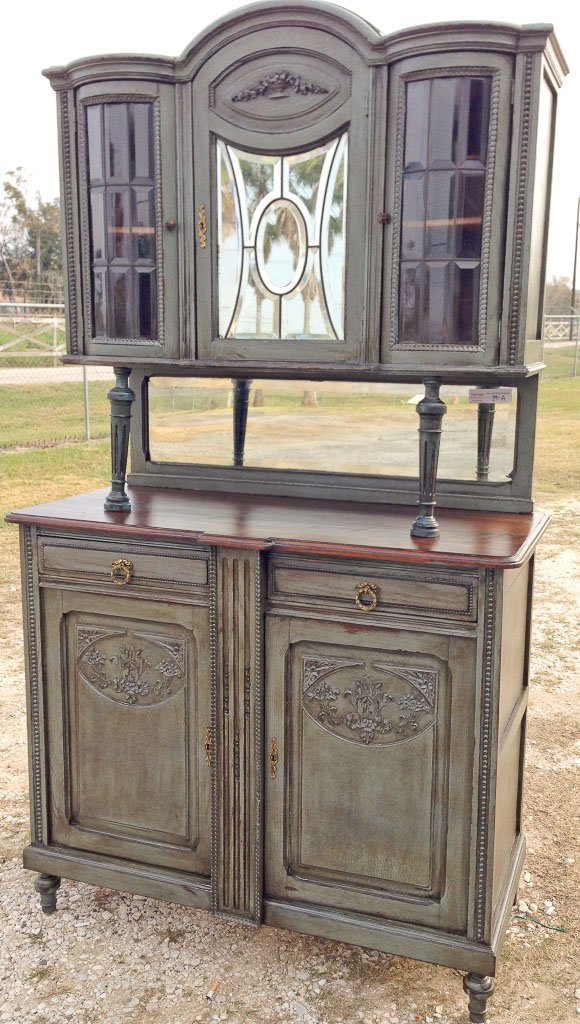 FRENCH LEADED BEVEL GLASS DOUBLE BUFFET