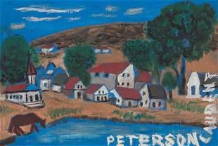Peterson Laurent (Haitian) Town Scene, c.1950's, Haiti