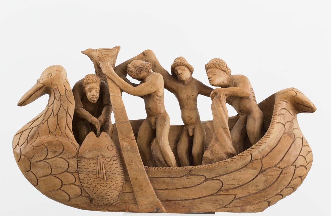 Nacius Joseph (Haitian) Fisherman, Woodcarving