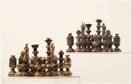 Israeli Silver and Metal Gilt Chess Set, Second Half of