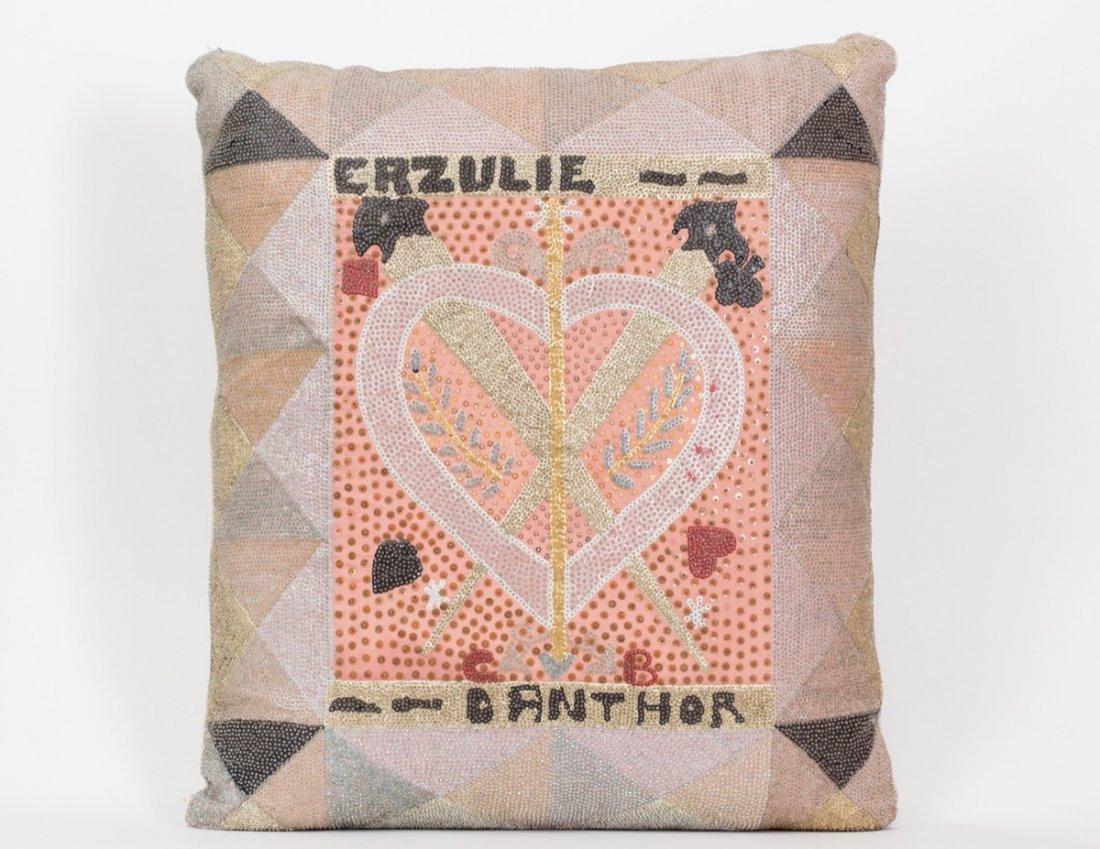 Drapeau/Vodou Sequin Pillow (Haitian/20th C.)   Erzulie
