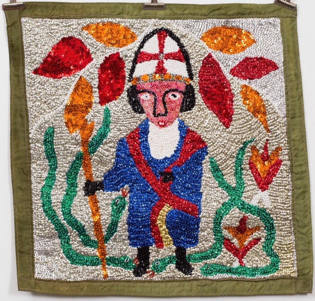 Drapeau/Vodou Sequin Flag (Haitian/20th C.) St. Patrick