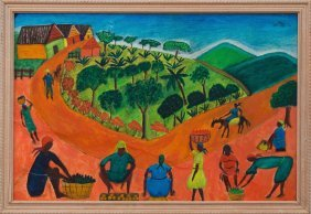 L. Blain (Haitian/20th C.) Village Scene, Folk Art
