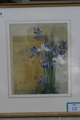 12: Framed water colour of Iris, signed Ann P