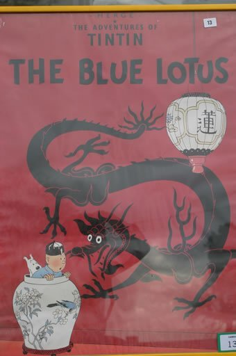 "13: Herge Tintin poster entitled ""The Blue Lo"