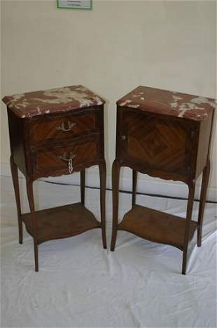 Pair bedside cabinets with shaped marble