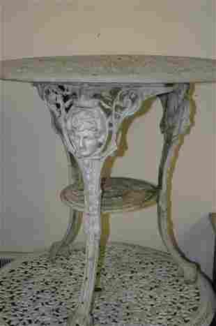 Five cast Britannia garden tables