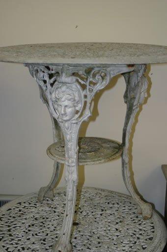 523: Five cast Britannia garden tables