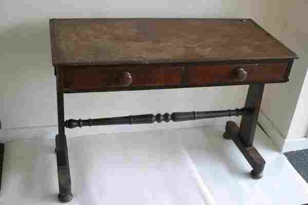 526: A Victorian two drawer side table with t