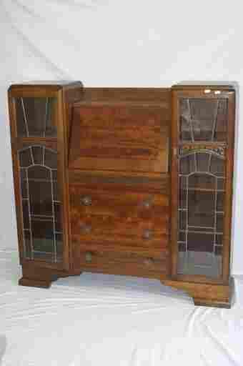 529: 1940's bureau bookcase with leaded glass