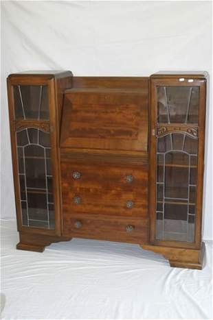 1940's bureau bookcase with leaded glass