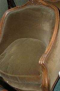 545: Pair walnut framed continental open armc