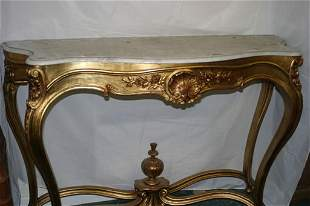 Large gilt console table on cabriole leg