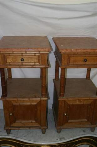Pair 19c faux bamboo birds eye maple bed